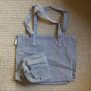 Striped canvas tote and shoe bag!